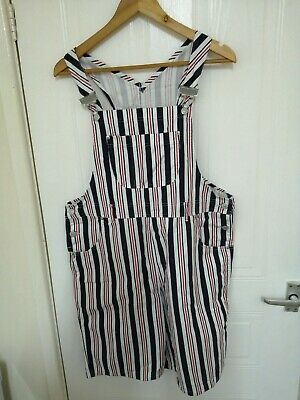 Ladies Vintage St Michael M&s Blue And Red Striped Short Dungarees Size 14