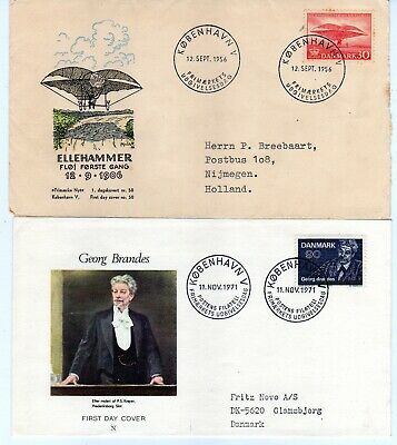 Denmark 2 first Daycovers 1956 and 1971