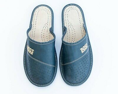 Mens Natural Genuine Leather ALL Sizes New House Shoes Sandals BOSS Brown Blue