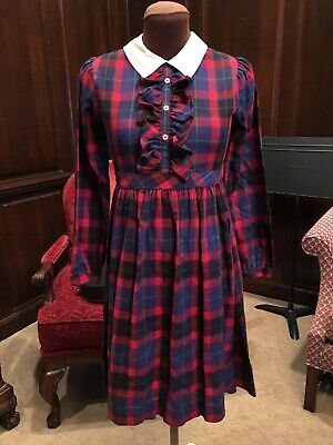 Vintage Sylvia White Girls 12 Dress Long Sleeve Plaid