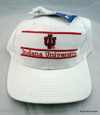 buy popular e8bfa 33da0 VTG Deadstock Indiana Hooisers The Game Adjustable Snapback Hat White Red  NWT