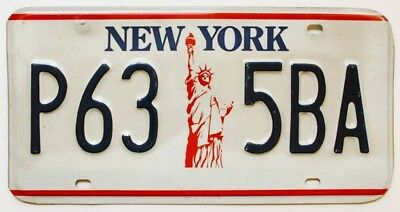 "New York 1986-2000 ""Statue of Liberty"" License Plate, P63 5BA, Nice Quality"