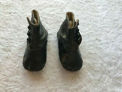 Pair of Antique Victorian Leather Baby Shoes One family history Button Up @ 1899