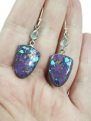 "Vintage Sterling Silver Blue Topaz Purple Copper Turquoise Earrings 2"" T 5.4 g"