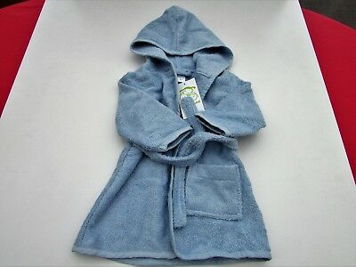 Vertbaudet Baby Towelling Robe 9-12 months H 74 cm pale blue dressing gown NEW