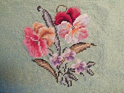 Vintage Needlepoint Colorful Pansies On A Soft Green Background Background