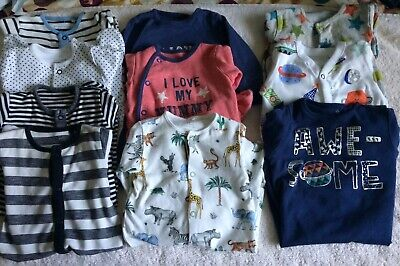 Bundle of 10 Next Sleepsuits 0-3 Months For Baby Boy