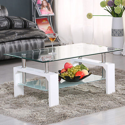 Glass Coffee Table Set Modern White Rectangular Wood Living Room Furniture