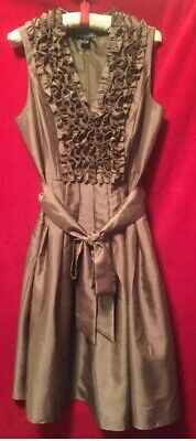 9a95dfc151a4 Jessica Howard Brown Shantung Ruffle Bodicr Belted Party Sleeveless Dress.  SALE!