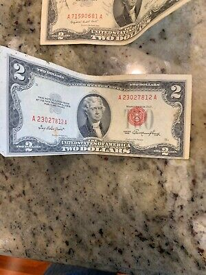 (10) 1953 1953a 1953b $2 TWO Dollar  U S Currency lot collection old money