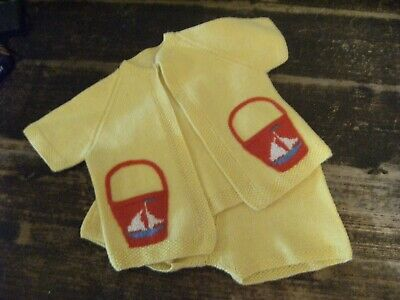 Antique 1940's /50's Original 2 Piece Baby Outfit Knitted Retro