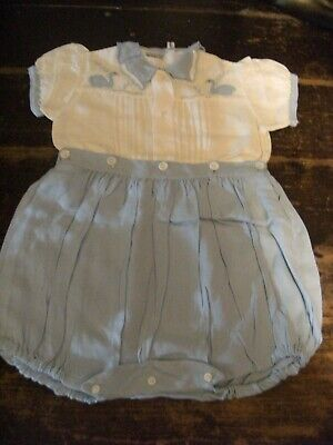 Antique 1940's /50's Original Baby Boy All In One Handmade In Portugal