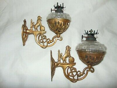 RARE PAIR OF ANTIQUE c1900 CAST METAL POODLE DOG DESIGN WALL MOUNTED OIL LAMPS