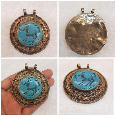 Old Bronze Afghan Vintage Lovely Pendant With Blue Turquoise Horse Intaglio #A5