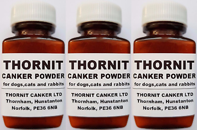 THORNIT CANKER POWDER - EAR MITES TREATMENT FOR DOGS, CATS & RABBITS - 3 x 20g