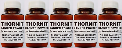 THORNIT CANKER POWDER - EAR MITES TREATMENT FOR DOGS, CATS & RABBITS - 5 x 20g