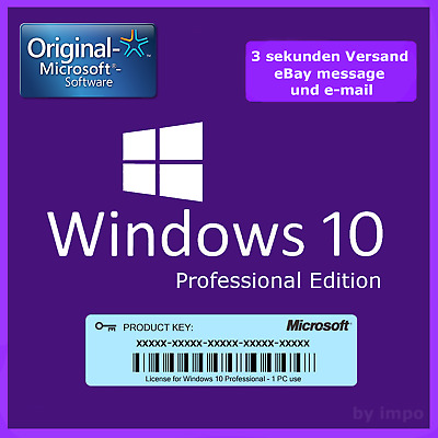 Windows 10 Professional Key  -  Win 10 Pro Key  -  32/64 Bit  -  Lizenzschlüssel