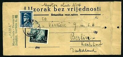 Rare, Pawa Zagreb , Croatia Ndh 1941 Cover To Berlin Reich Vf Used , See 2 Scan