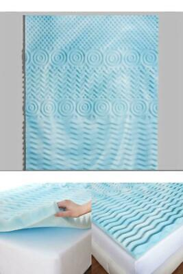 Gel Memory Foam Mattress Topper 3-Inch Cooling Spa 5-Zone Comfort Support Foam