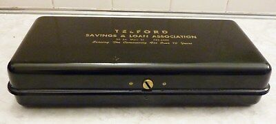 Vintage Metal Bank Box - Great Condition - with Keys!