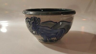 Great Bay Pottery, New Hampshire, Moose Hand Made Bowl, NH 2003