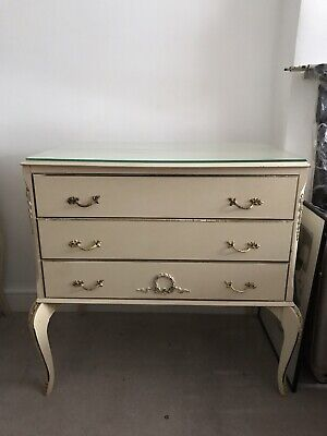 Vintage Olympus French Louis Xv Chest Of Drawers Table Glass Shabby Chic Cream