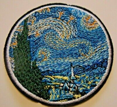"""Starry Night~Vincent Van Gogh~Embroidered Patch~2 3/4"""" Round~Iron or Sew On"""