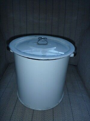 Vintage enamel bread/flour bin. White/cream with black handles.