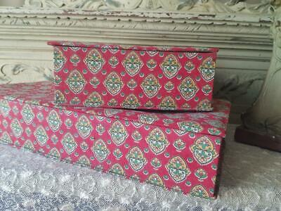 Pair of Antique French Paris Au Bon Marche Department Store Fabric Covered Boxes