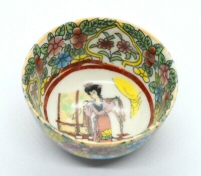 Antique China Dynasty Tea Cup Puer Porcelain Geisha Colored Hand Work