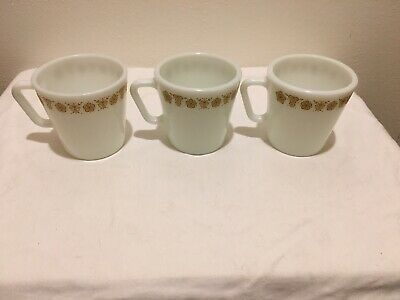 3 Vintage Pyrex Coffee Mugs Butterfly Gold 1410 D-Handle Cups, Corning Corelle