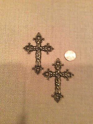 2 Antiqued Gold Floral Cross Charms Filigree Metal