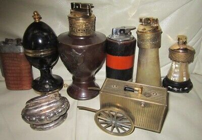 Eight Vintage Tabletop Cigarette Lighters