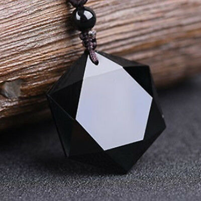 Fashion Unisex Natural Stone Hexagram Obsidian Pendants Necklace Lucky Jewelry