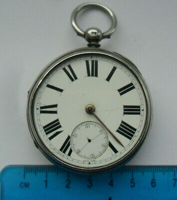 Vintage antique silver large heavy fusee pocket watch restoration spares