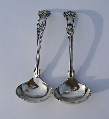 A Pair of Silver Plated Sauce Ladles - Kings Pattern - B&S
