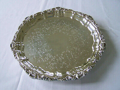 Poole Silver Chippendale Rococo Pattern Footed Cocktail Serving Platter Tray