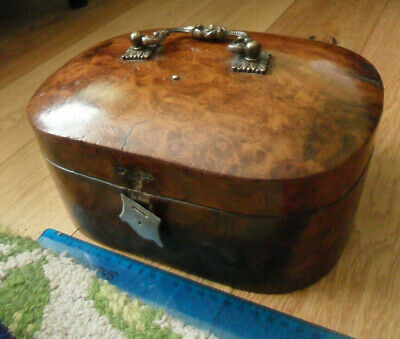 Vintage antique burr walnut vanity sewing box Victorian domed top lovely handle