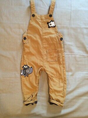 Baby Boy Nut Meg Yellow Dungarees Size 9-12 Months