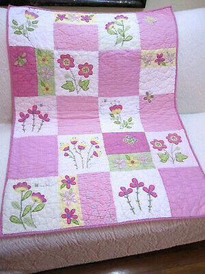 Pottery Barn Kids Baby Quilt Flowers Butterfly Embroidered Hand Made Cotton