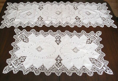 Two Vintage / Antique Embroidered Cutwork Lace Table Runner Set