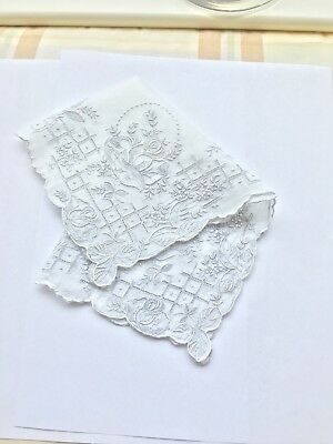 Fine antique 1800s hand embroidered lace Belgian Brussels wedding Handkerchief.