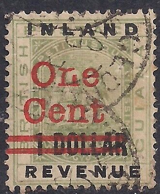 British Guiana 1890 QV 1ct Ovpt on $1 Inland Revenue SG 207 ( J1303 )