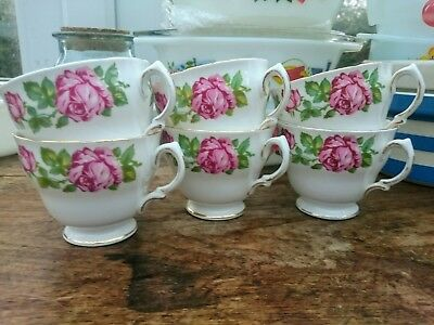 Vintage Royal Vale Bone China Pink Roses Tea Cup x6 Big Pink Roses Pattern 9201