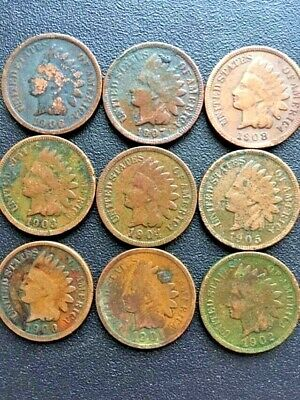 (9 coin set) 1900-1908 Indian Head Pennies. Great start for your book