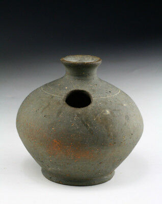*SC*A KHMER EARTHENWARE COVERED LIME POT, Ankorian period, 12th-14th cent!!