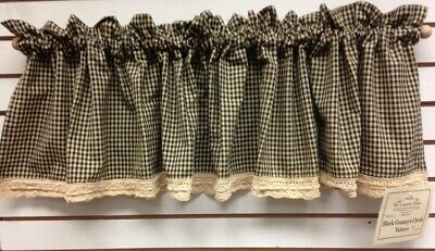 Primitive/Country Black/Tan Granny Check Valance From The Country House