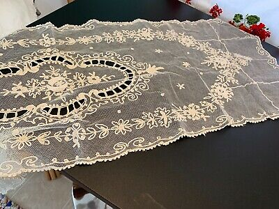 Antique Tambour Net Lace  Table Runner, Shawl Good Condition