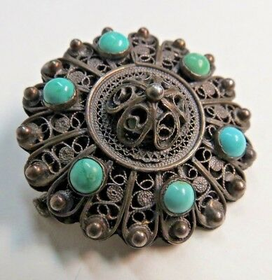 Vintage Turquoise Italian Etruscan Revival 800 silver Brooch 1935 84 FI 1.375 in