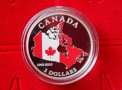 2015 Fine Silver Coloured $3 Coin – 50th Anniversary of the Canadian Flag